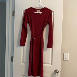 Red Ribbed Midi Dress by Philosophy